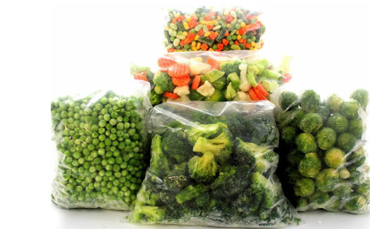 Preparing and freezing vegetables factory